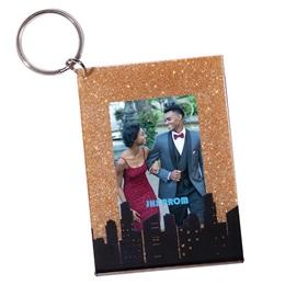 Gold Glitter Cityscape Photo Key Chain