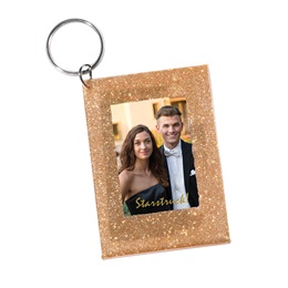 Glitzy Gold Photo Key Chain