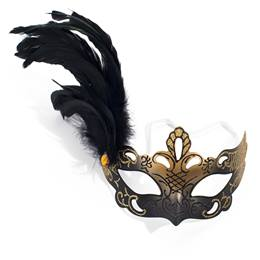 Black Glitter Mask with Feather