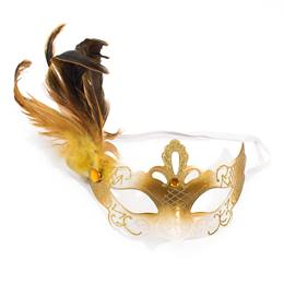 Gold Glitter Mask with Feather