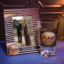 Full-color Frame and Tumbler Set - Black and Gold Prom Stripes