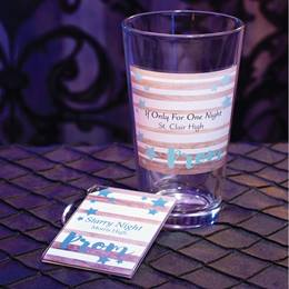 Full-color Tumbler and Key Chain Set - Teal Prom and Stars