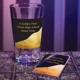 Full-color Tumbler and Key Chain Set - Gold and Black