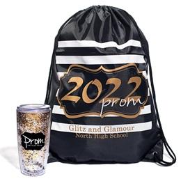 Gold Glitter Prom 2022 Bag/Glitter Tumbler Favor Set