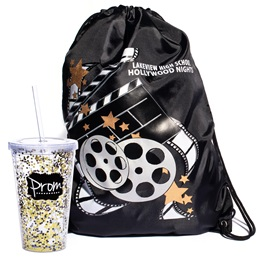 Movie Reels Bag/Glitter Cup and Straw Favor Set