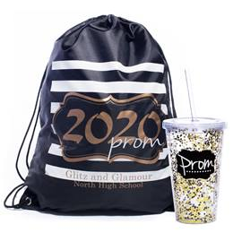 Gold Glitter 2020 Bag/Glitter Cup with Straw Favor Set