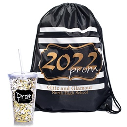 Gold Glitter Prom 2022 Bag/Prom Confetti Cup Favor Set