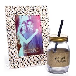 Confetti Sparkle Frame and Liberty Mug with Gold Glitter Ribbon Favor Set