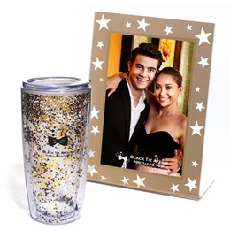 Gold Starlit Sparkle Frame and Black and Gold Star Glitter Tumbler Favor Set