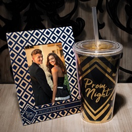 Super Sparkling Tumbler/Frame Set - Gold and Navy Diamonds