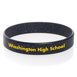 Custom Glitter Silicone Wristband - Black