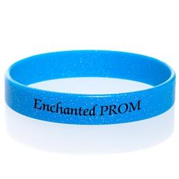 Custom Glitter Silicone Wristband - Blue