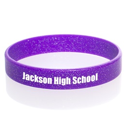 Custom Glitter Silicone Wristband - Purple