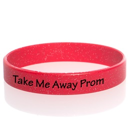 Custom Glitter Silicone Wristband - Red