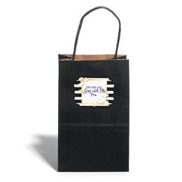 Small Black Kraft Bag with Full-color Custom Sticker