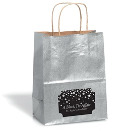 Large Silver Kraft Bag with Rectangle Sticker
