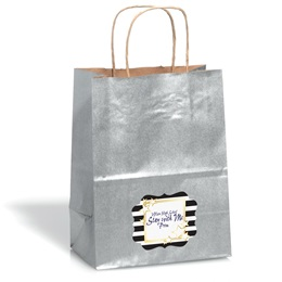 Large Silver Kraft Bag with Full-color Custom Sticker