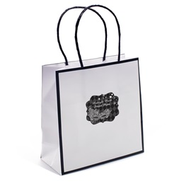 Favor Bag With Personalized Sticker - White