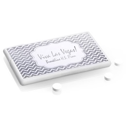 Metallic Foil Mini Mints - Silver Chevrons