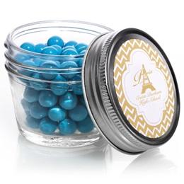 Metallic Foil Small Mason Jars - Gold Chevrons