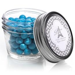 Small Mason Jar with Metallic Foil Label - Silver Chevrons