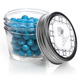Small Mason Jar with Metallic Foil Label - Silver Moroccan