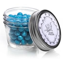Small Mason Jar with Metallic Foil Label - Silver Dots