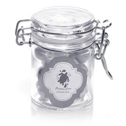 Metallic Foil Mini Glass Jar - Silver Frame