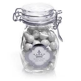 Metallic Foil Small Glass Jar With Swing Top Lid - Silver Frame Label