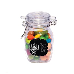 Full-color Small Glass Jar with Swing Top Lid