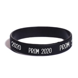 Prom 2020 Wristband - Black with White Print