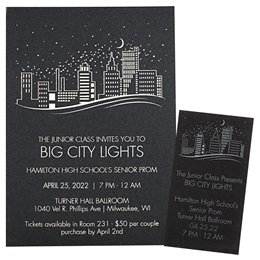 Foil Shimmer Invitation and Ticket Set - Nighttime Skyline