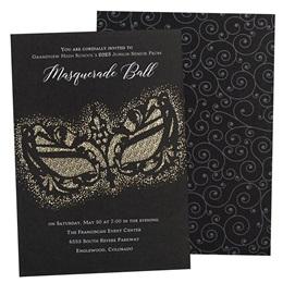 Gold Gothic Foil Mask Invitation