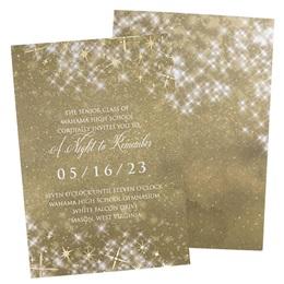 Gold Twinkle Foil Stars Invitation
