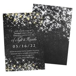Black Twinkle Foil Stars Invitation