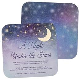 Pastel Sky & Foil Moon Invitation