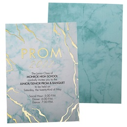 Teal Marble & Gold Foil Invitation