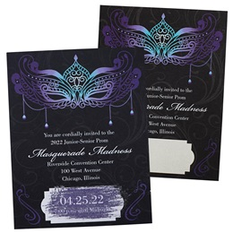 Blue Mask Scratch-off Invitation