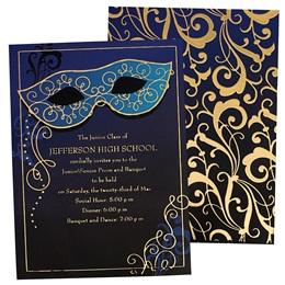 Sapphire Blue Mask Luxury Foil Invitation