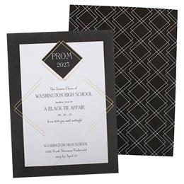 Gold Foil Diamond Stripes Invitation