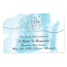 Full-color Ticket - Blue Watercolor Prom