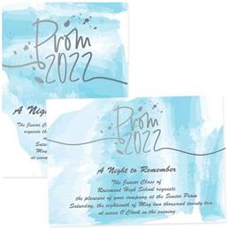"""Blue Watercolor Prom 5"""" x 7"""" Invitation"""