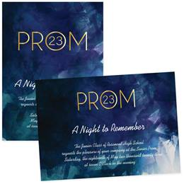 "Watercolor Gold Prom 4"" x 6""  Invitation"