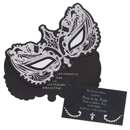 Invitation and Ticket Set - Silver Sparkle Mask