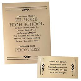 Mirrored Gold Invitation and Ticket Set