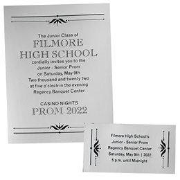 Mirrored Silver Invitation and Ticket Set