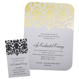 Foil Invitation and Ticket Set - Gold and Black Damask