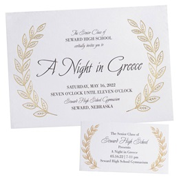 Foil Invitation and Ticket Set - Gold Laurel Leaves