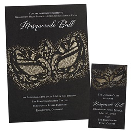 Foil Invitation and Ticket Set - Gothic Mask