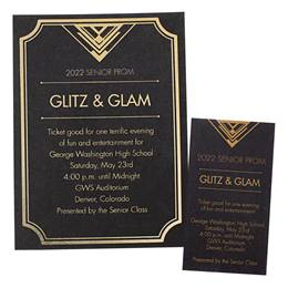 Foil Invitation and Ticket Set - Glitz and Glam